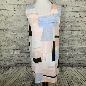 Vince Camuto Multicolor Abstract Semi Sheer Top